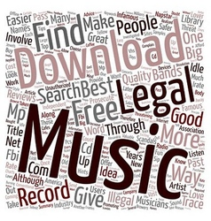 Legal Music Downloads text background wordcloud vector image vector image