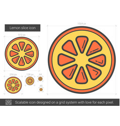 Lemon slice line icon vector