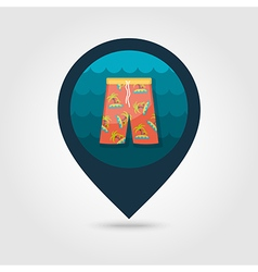 Men Beach Shorts pin map icon Summer Vacation vector image vector image