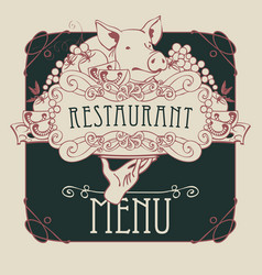 menu with hand tray still life and pigs head vector image vector image