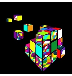 Rubik cube 3D with black background vector image