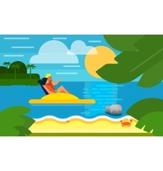 Seascape with couple on water bike vector