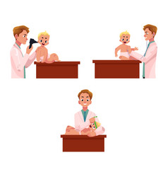 Set of doctor pediatrician checking baby infant vector