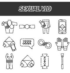 Sexual vio icons set vector