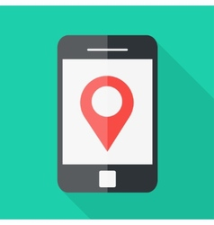 Smartphone flat design location icon vector