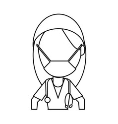 Surgeon woman with mask medical stethoscope thin vector
