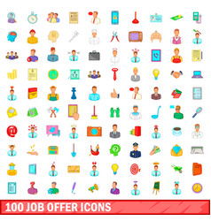 100 job offer icons set cartoon style vector
