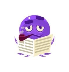 Funny octopus reding newspaper emoji vector