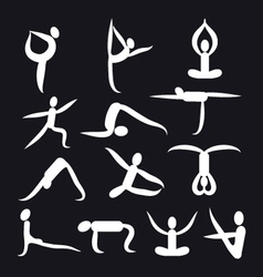 yoga poses and health care icons fitness symbol vector image