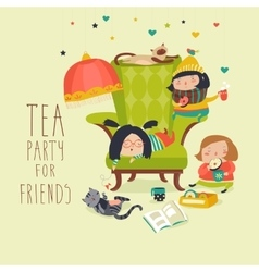 Group of friends having a tea party vector