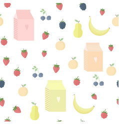 seamless background with yoghurt and fruits vector image