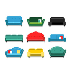 Furniture couches and sofa flat style vector