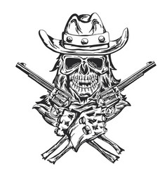 cowboy skull with two guns vector image