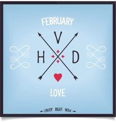 Arrows with capital letters valentines day vector