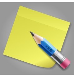 Blue pencil and yellow notepad page vector