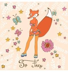 So foxy elegant concept card with attractive fox vector image