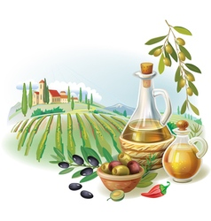 Bottles with olive oil and rural landscape vector