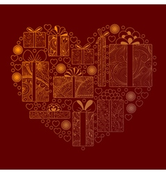 Gift boxes composition in a heart shape vector image