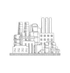 Industrial refinery factory sketch vector