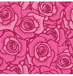 Seamless pattern of pink roses with burgundy lines vector