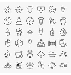 Baby Line Art Design Icons Big Set vector image vector image