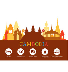 Cambodia landmarks skyline with accommodation vector