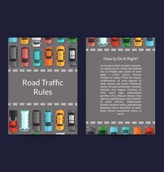 Cars on road top view card vector