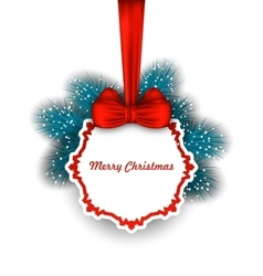 Christmas elegant card with bow ribbon and fir vector
