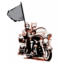 Couple riding motorcycle with flag vector
