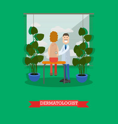 Dermatologist and patient in vector