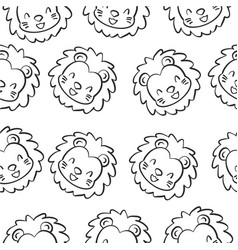 Doodle lion animal design collection vector