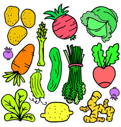 Doodle with fresh vegetables set vector