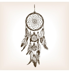 Dreamcatcher hand drawn sketch style vector image