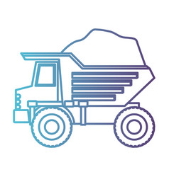 dump truck with rocks in gradient color silhouette vector image