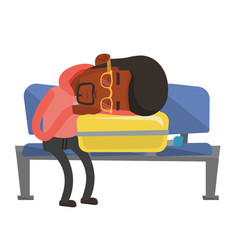Exhausted man sleeping on suitcase at airport vector