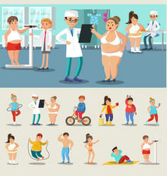Fat people losing weight collection vector