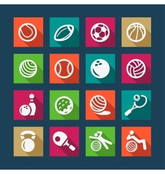 Flat sports and fitnes icons set vector