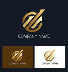 gold arrow progress logo vector image vector image