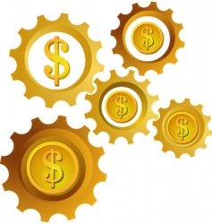 golden dollar cogwheels vector image