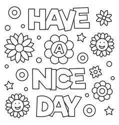 have a nice day coloring page vector image