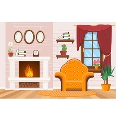 Home lounge interior with photo frames warm vector