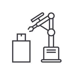 industrial laser robot line icon sig vector image vector image