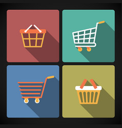 Internet shopping carts and baskets vector image