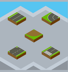 Isometric way set of footpassenger turn upwards vector