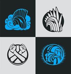 Knight helmet logo template vector