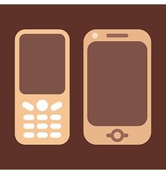 Mobile phones brown vector