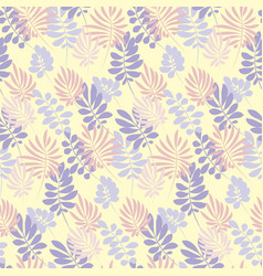 Modern plant pattern pale color tropical leaves vector