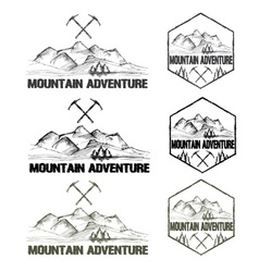 Set of sketch vintage labels mountain adventure vector