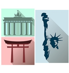 Set sights and symbols of different countries vector