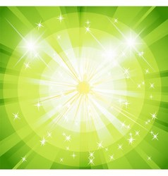 Star burst and sunbeam green background vector